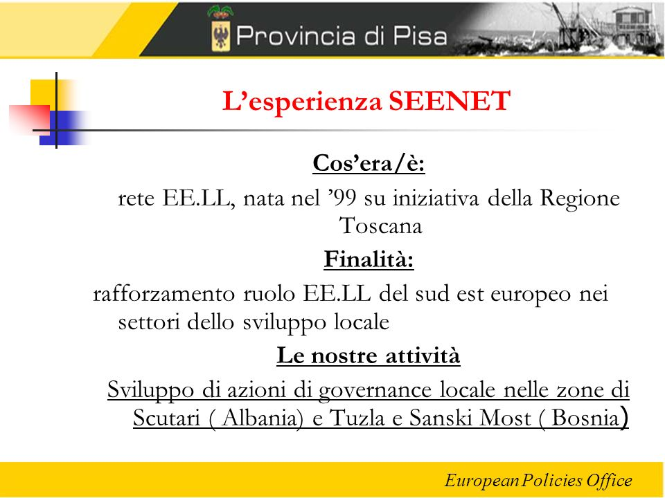 rete EE.LL, nata nel '99 su iniziativa della Regione Toscana