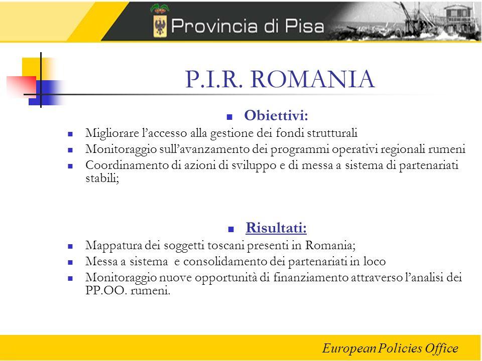 P.I.R. ROMANIA Obiettivi: Risultati: