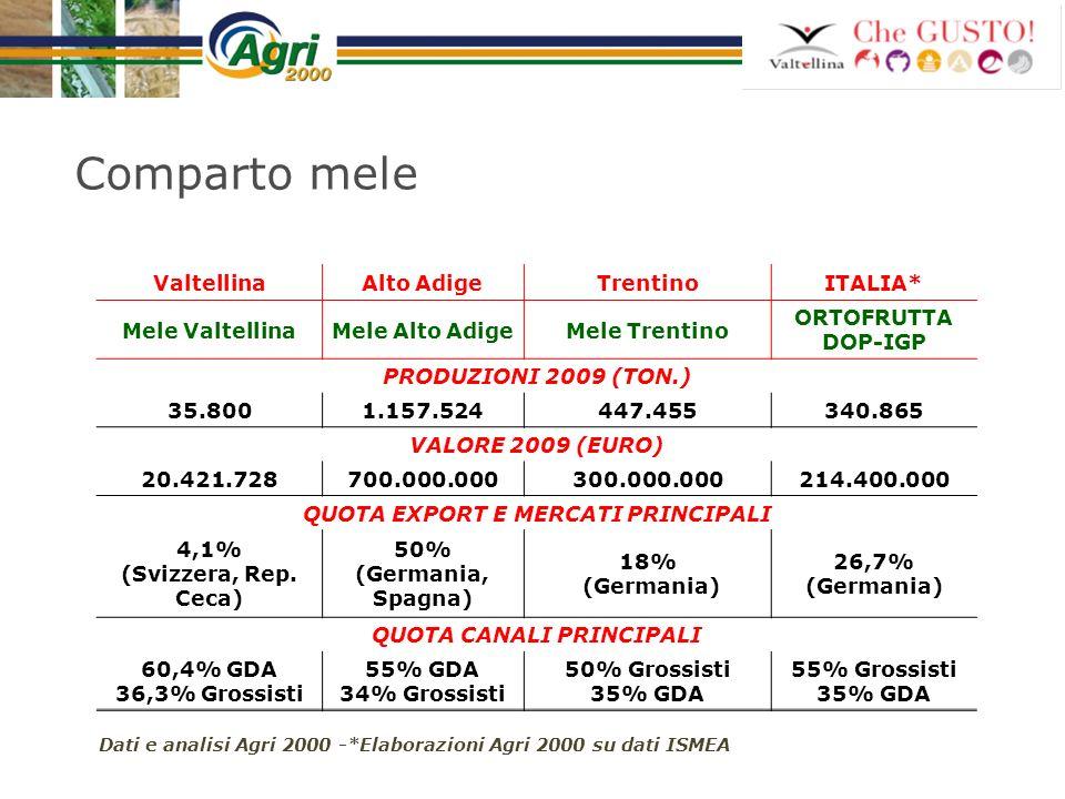 QUOTA EXPORT E MERCATI PRINCIPALI QUOTA CANALI PRINCIPALI