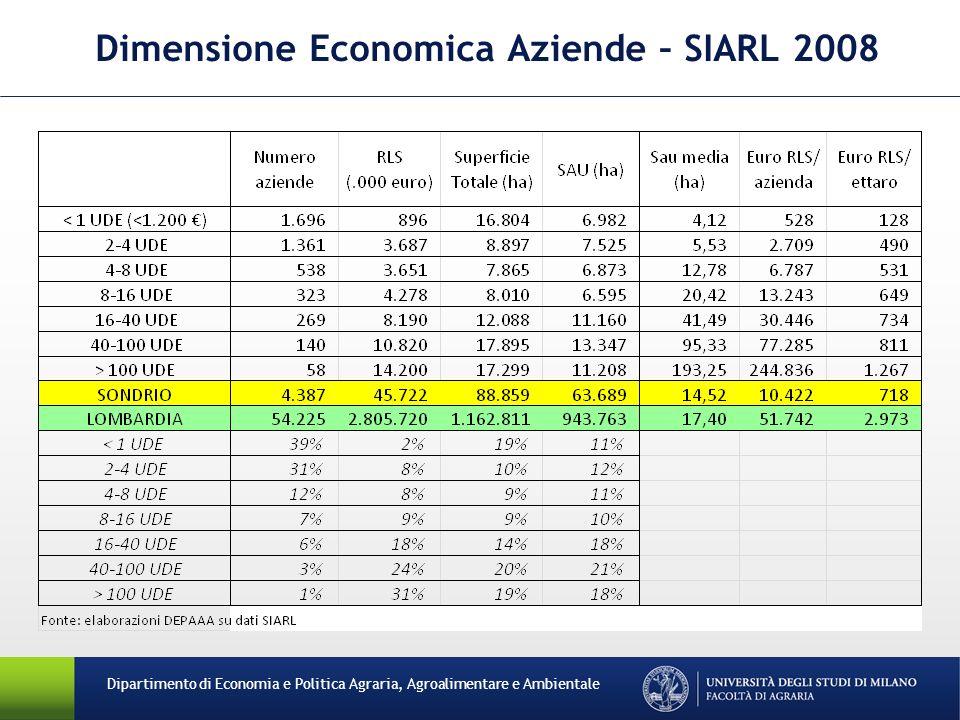 Dimensione Economica Aziende – SIARL 2008