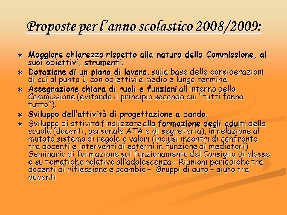 Proposte per l'anno scolastico 2008/2009: