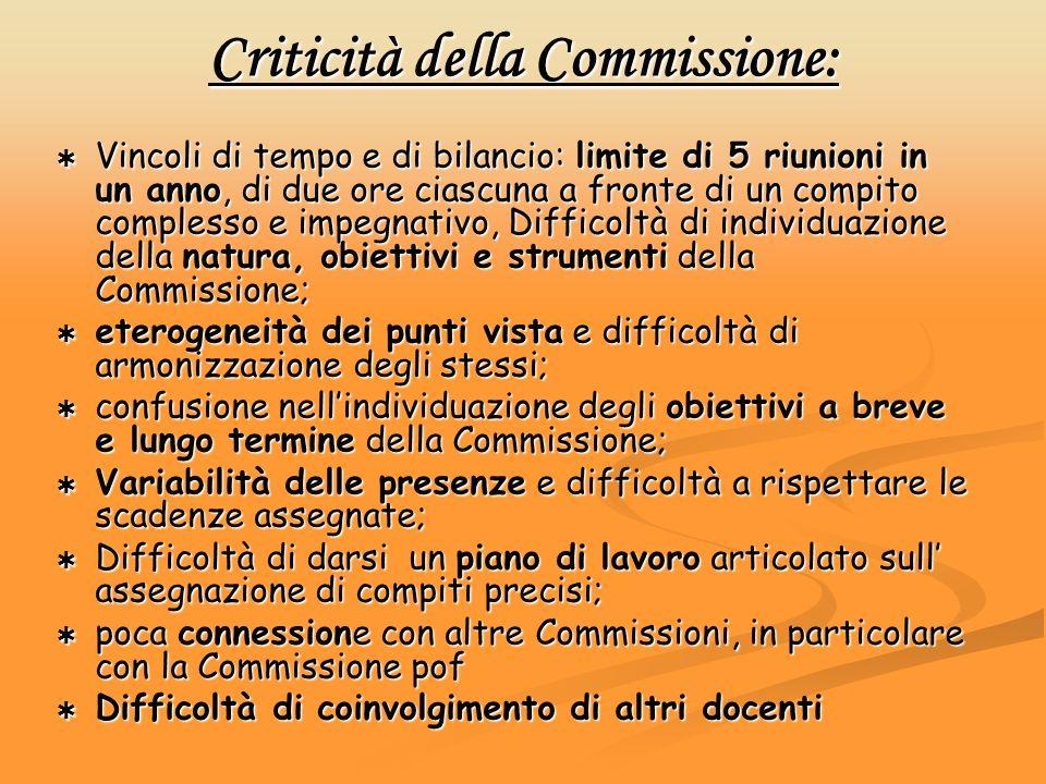 Criticità della Commissione: