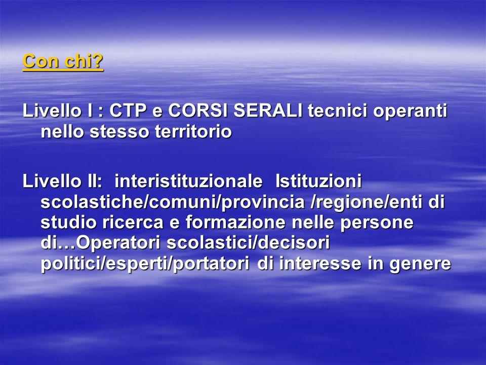 Con chi Livello I : CTP e CORSI SERALI tecnici operanti nello stesso territorio.