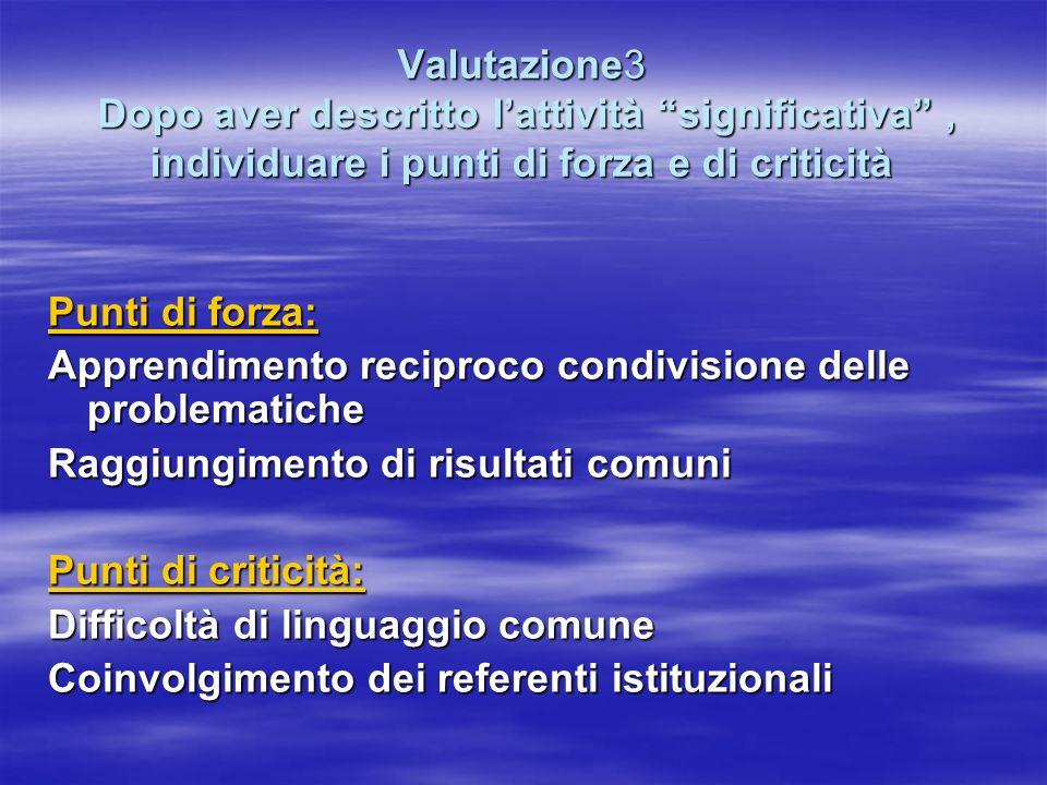 Valutazione3 Dopo aver descritto l'attività significativa , individuare i punti di forza e di criticità