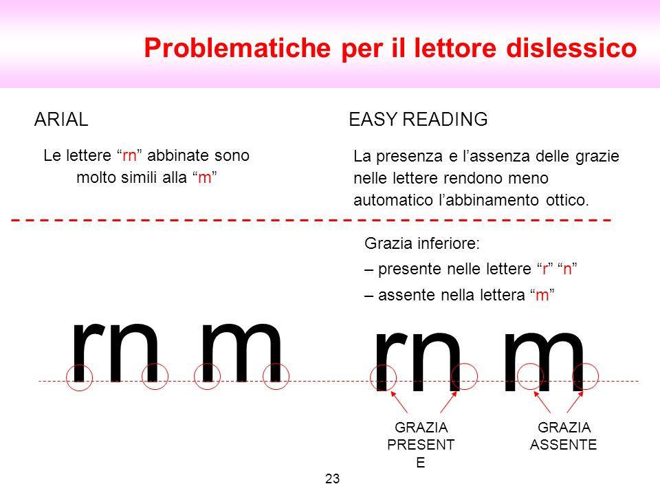 Le lettere rn abbinate sono molto simili alla m