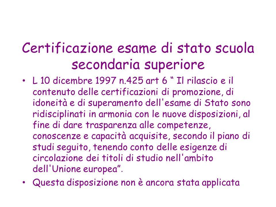 Certificazione esame di stato scuola secondaria superiore