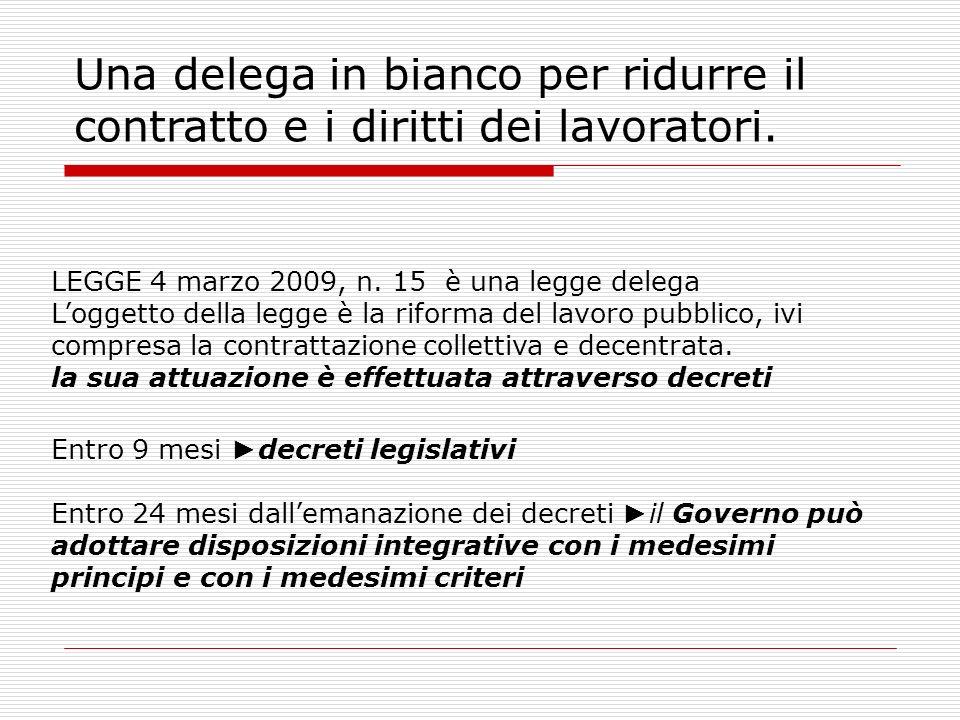 Una delega in bianco per ridurre il contratto e i diritti dei lavoratori.