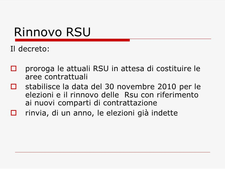 Rinnovo RSU Il decreto: