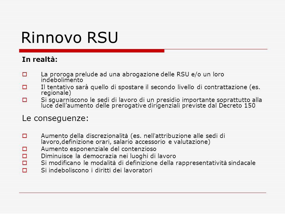 Rinnovo RSU Le conseguenze: In realtà: