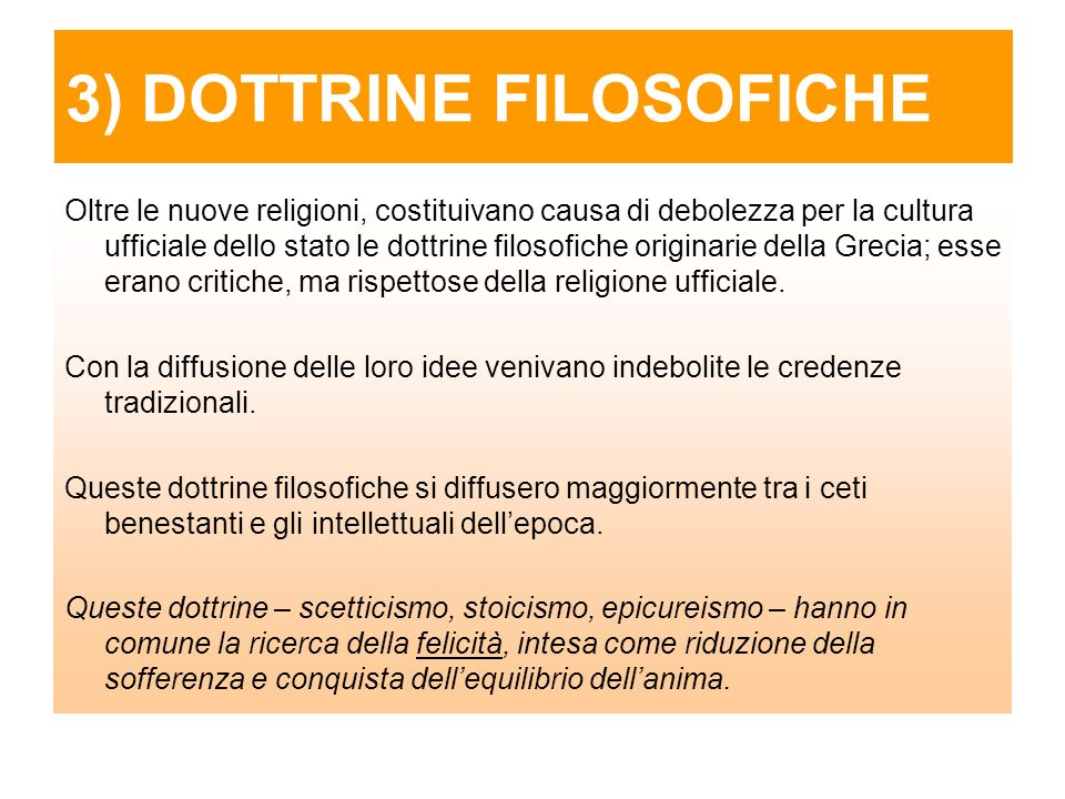 3) DOTTRINE FILOSOFICHE