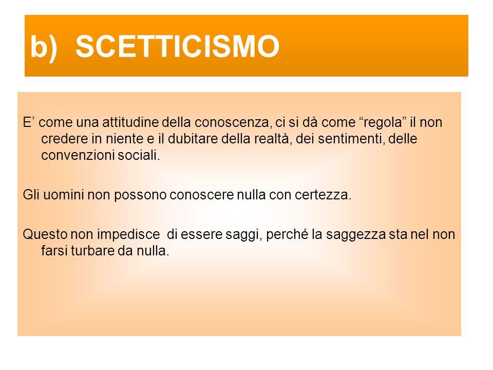 b) SCETTICISMO