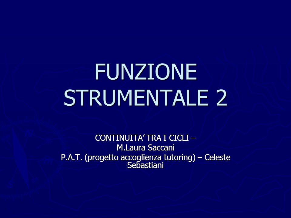 FUNZIONE STRUMENTALE 2 CONTINUITA' TRA I CICLI – M.Laura Saccani