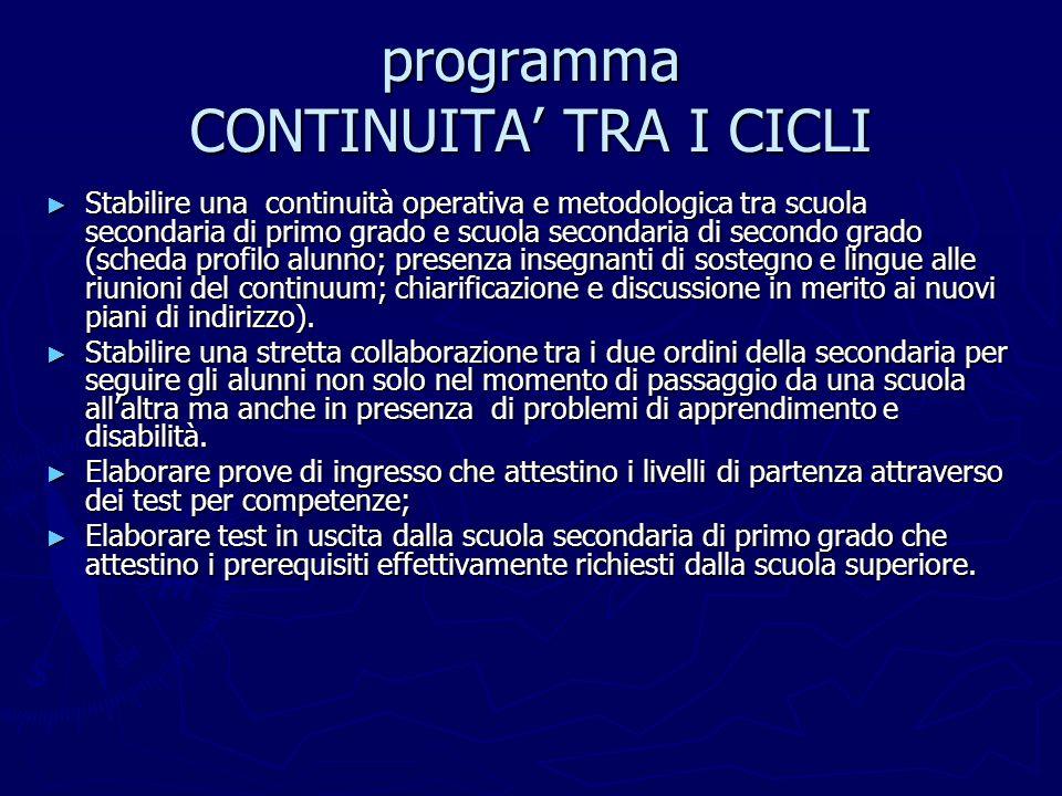 programma CONTINUITA' TRA I CICLI