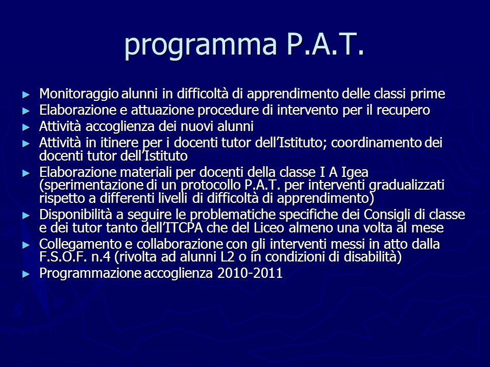programma P.A.T. Monitoraggio alunni in difficoltà di apprendimento delle classi prime.