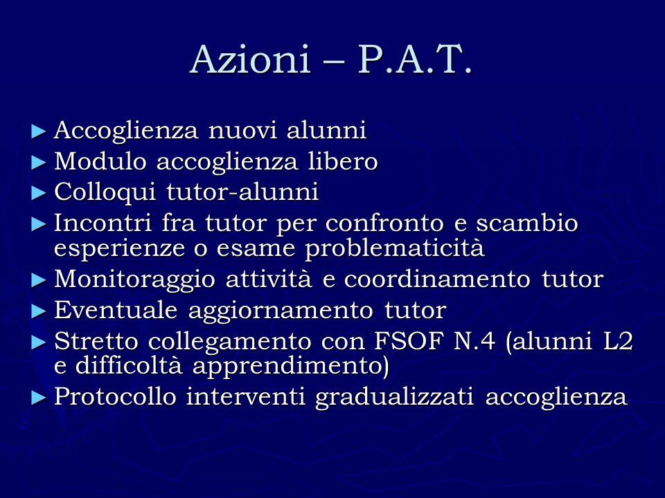 Azioni – P.A.T. Accoglienza nuovi alunni Modulo accoglienza libero