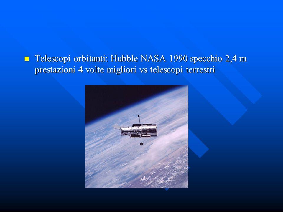 Telescopi orbitanti: Hubble NASA 1990 specchio 2,4 m prestazioni 4 volte migliori vs telescopi terrestri