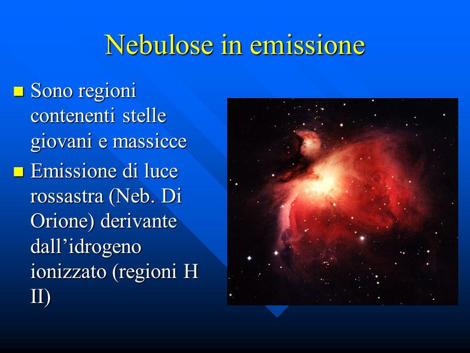 Nebulose in emissione Sono regioni contenenti stelle giovani e massicce.