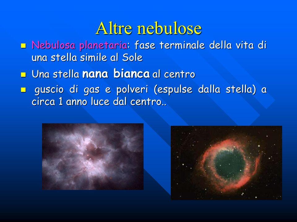Altre nebulose Nebulosa planetaria: fase terminale della vita di una stella simile al Sole. Una stella nana bianca al centro.