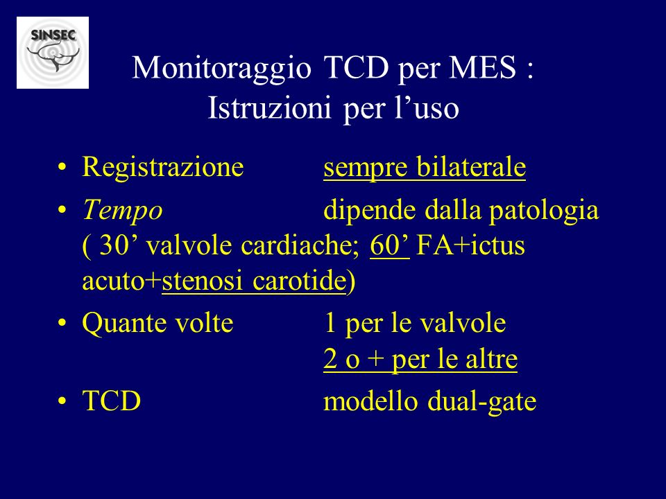 Monitoraggio TCD per MES : Istruzioni per l'uso