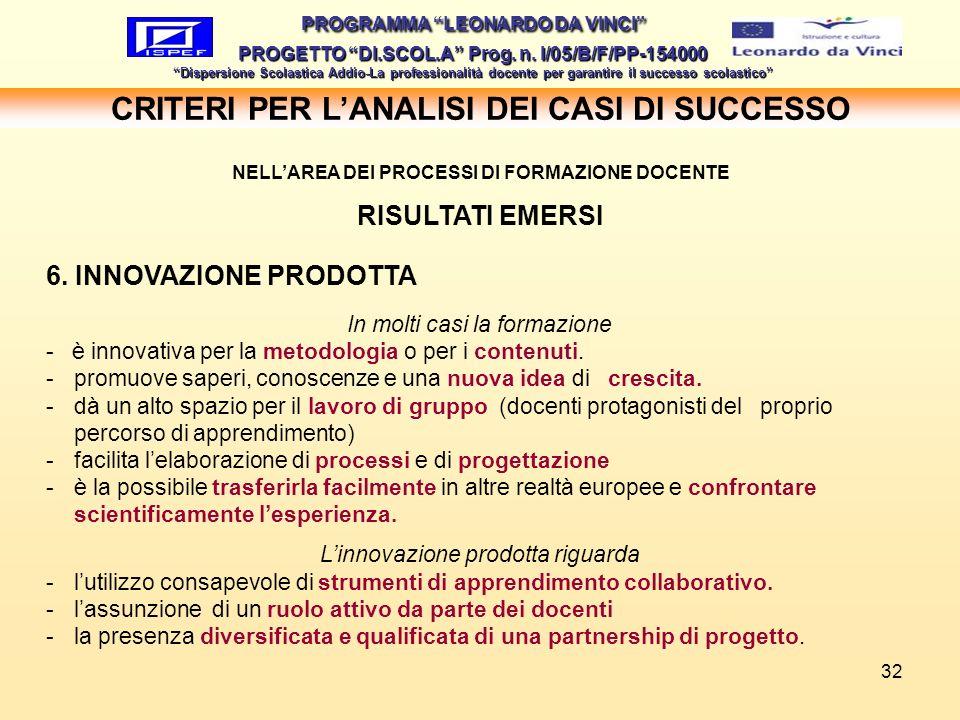 CRITERI PER L'ANALISI DEI CASI DI SUCCESSO