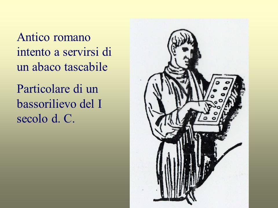 Antico romano intento a servirsi di un abaco tascabile