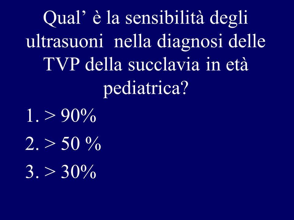 Qual' è la sensibilità degli ultrasuoni nella diagnosi delle TVP della succlavia in età pediatrica