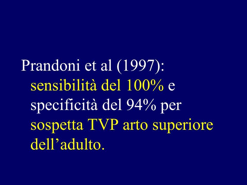 Prandoni et al (1997): sensibilità del 100% e specificità del 94% per sospetta TVP arto superiore dell'adulto.