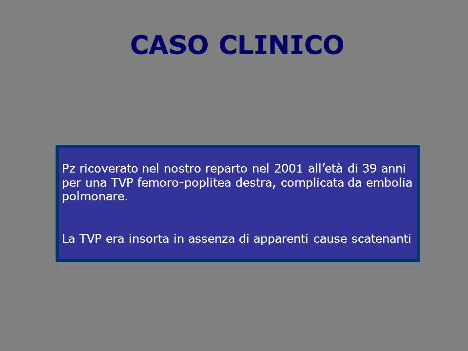 CASO CLINICOPz ricoverato nel nostro reparto nel 2001 all'età di 39 anni. per una TVP femoro-poplitea destra, complicata da embolia.