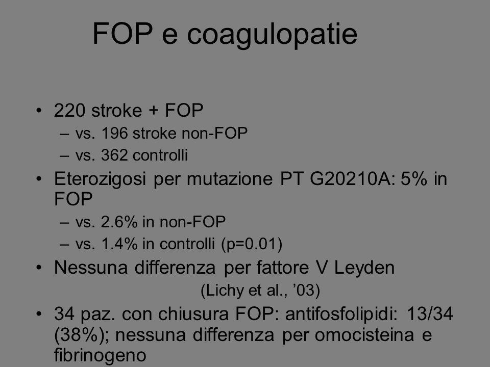 FOP e coagulopatie 220 stroke + FOP