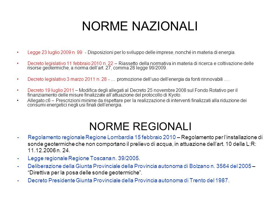 NORME NAZIONALI NORME REGIONALI