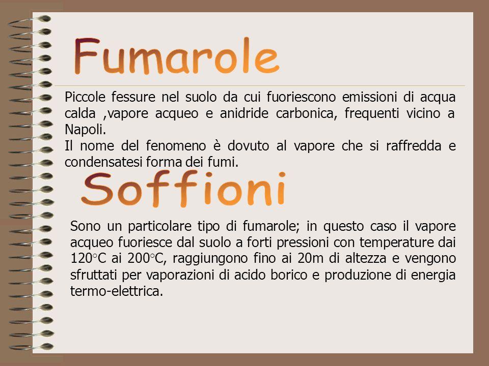 Fumarole Piccole fessure nel suolo da cui fuoriescono emissioni di acqua calda ,vapore acqueo e anidride carbonica, frequenti vicino a Napoli.