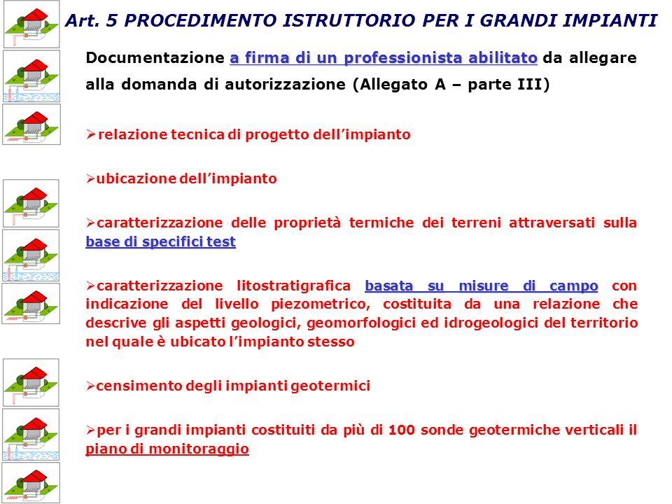 Art. 5 PROCEDIMENTO ISTRUTTORIO PER I GRANDI IMPIANTI