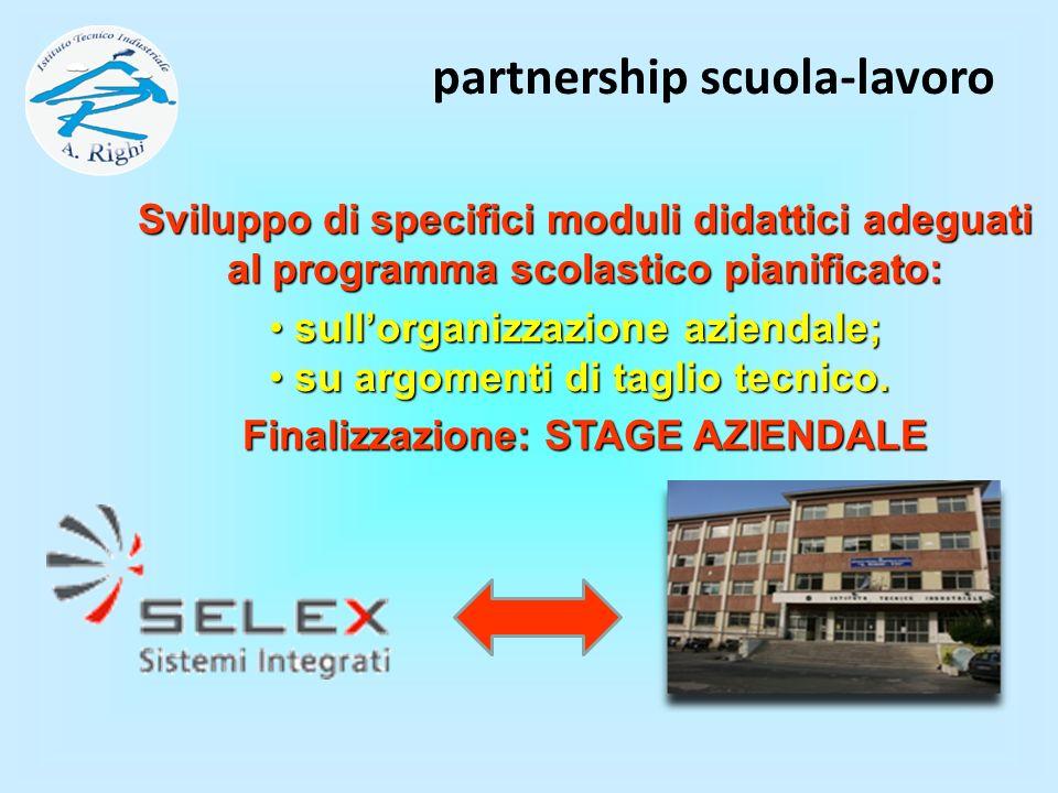 partnership scuola-lavoro Finalizzazione: STAGE AZIENDALE