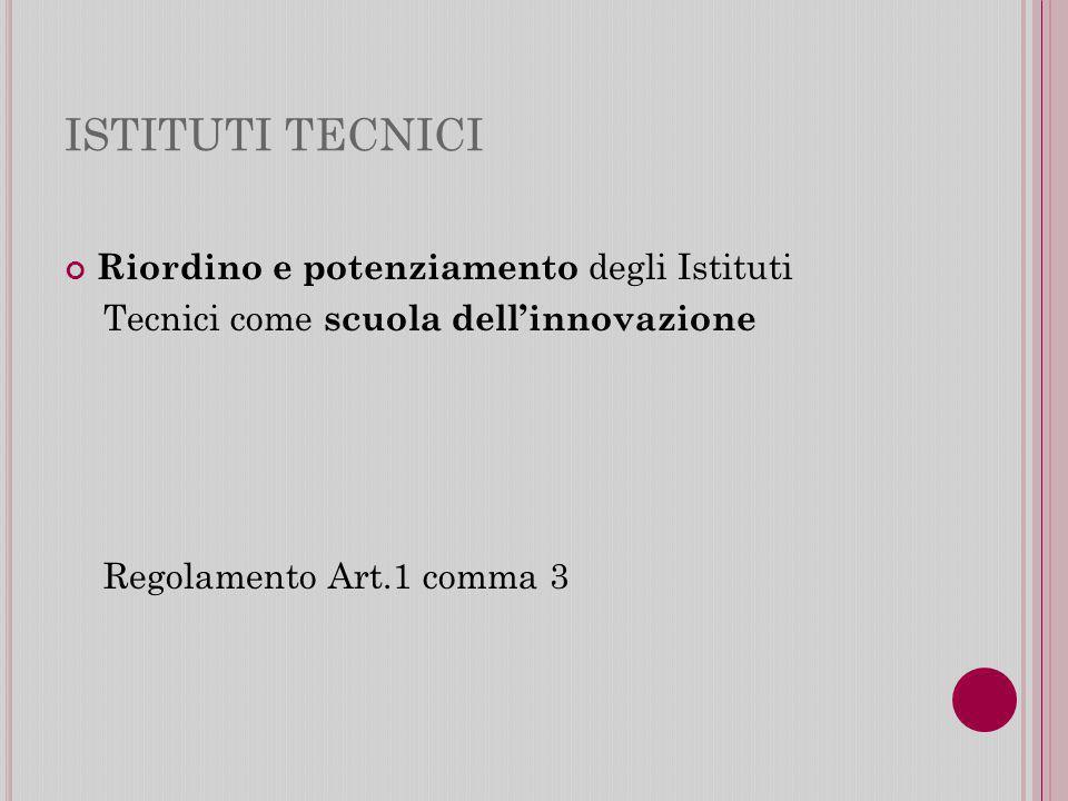 ISTITUTI TECNICI Riordino e potenziamento degli Istituti