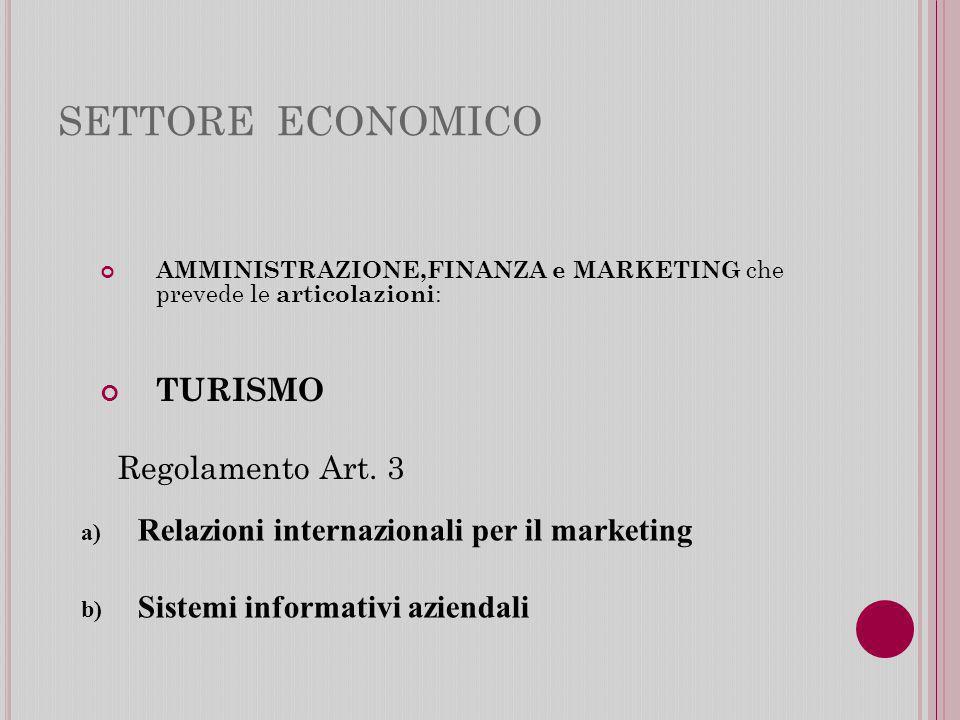 SETTORE ECONOMICO TURISMO Regolamento Art. 3