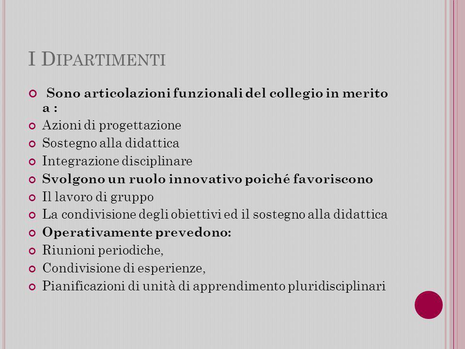 I Dipartimenti Sono articolazioni funzionali del collegio in merito a : Azioni di progettazione.