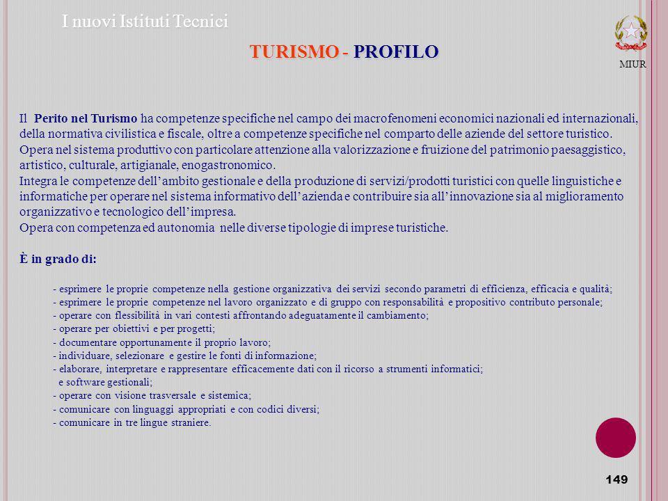 I nuovi Istituti Tecnici TURISMO - PROFILO