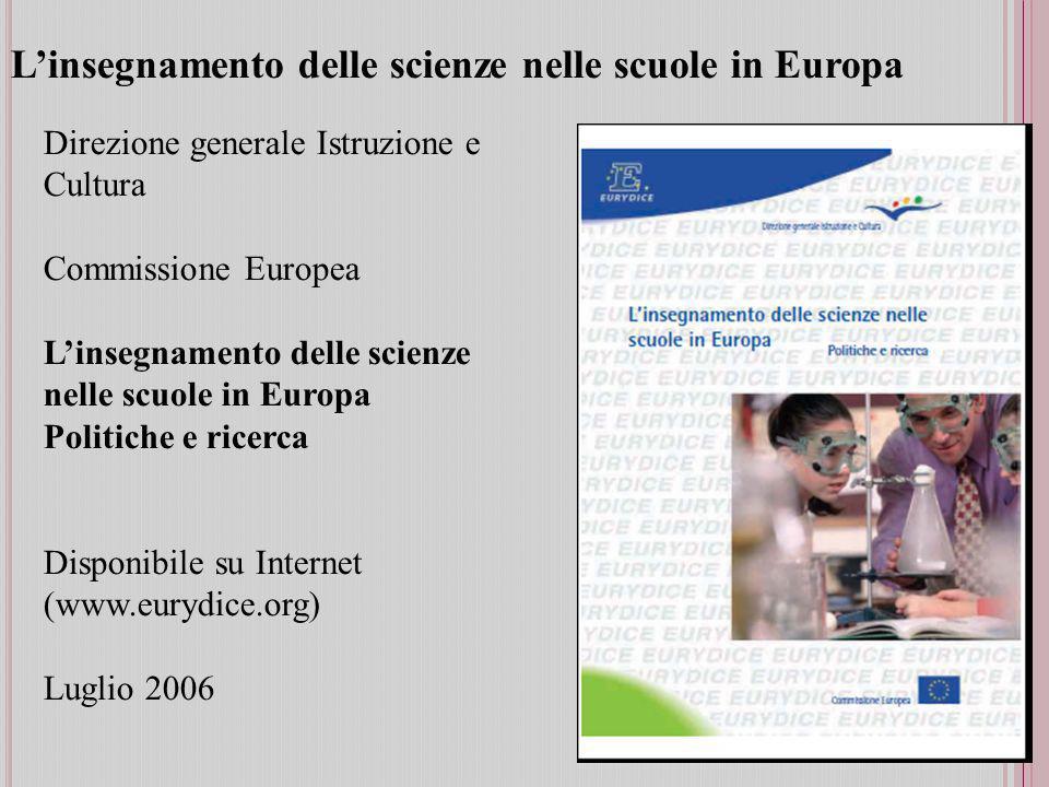 L'insegnamento delle scienze nelle scuole in Europa