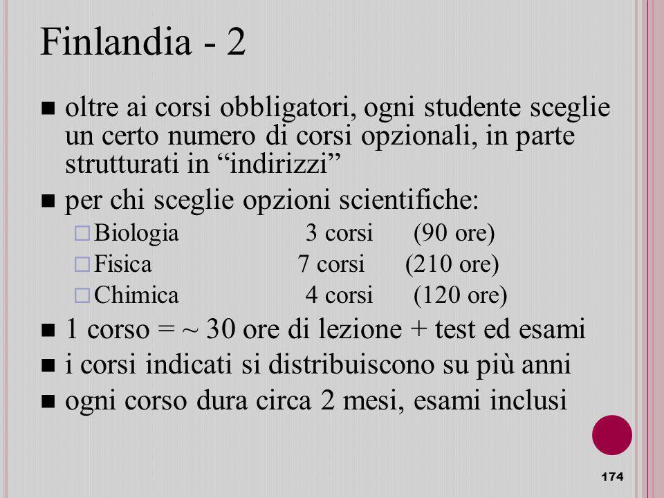 Finlandia - 2 oltre ai corsi obbligatori, ogni studente sceglie un certo numero di corsi opzionali, in parte strutturati in indirizzi