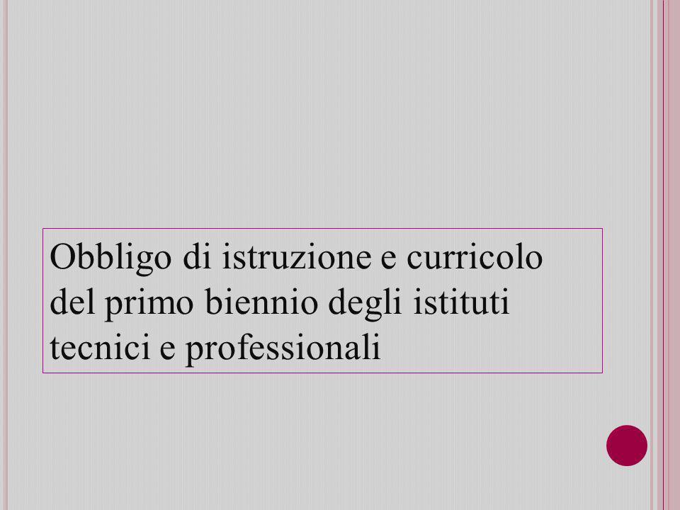 Obbligo di istruzione e curricolo del primo biennio degli istituti tecnici e professionali