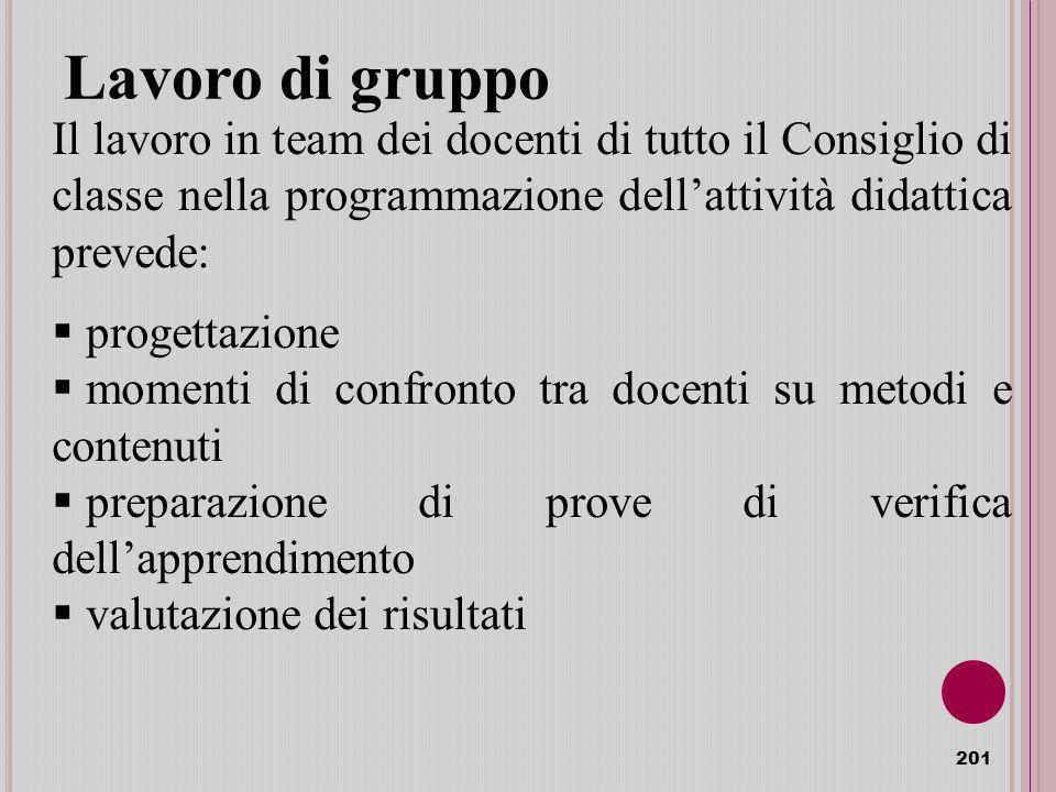 Lavoro di gruppo Il lavoro in team dei docenti di tutto il Consiglio di classe nella programmazione dell'attività didattica prevede: