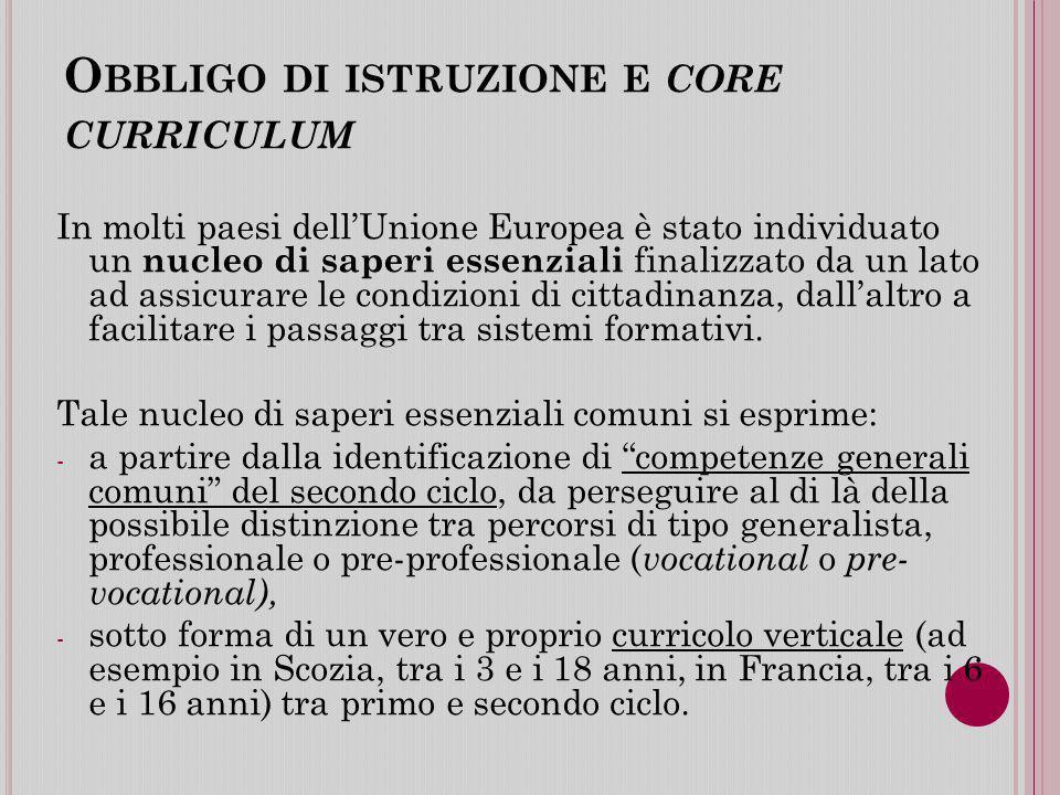 Obbligo di istruzione e core curriculum
