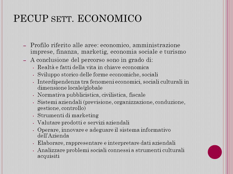 PECUP sett. ECONOMICO Profilo riferito alle aree: economico, amministrazione imprese, finanza, marketig, economia sociale e turismo.