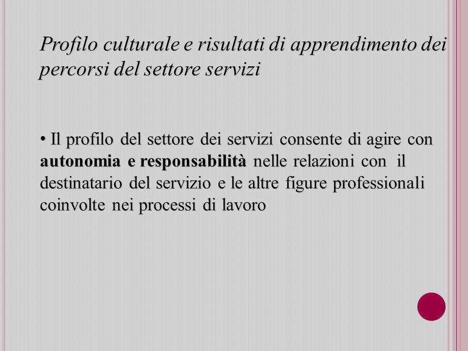 Profilo culturale e risultati di apprendimento dei percorsi del settore servizi