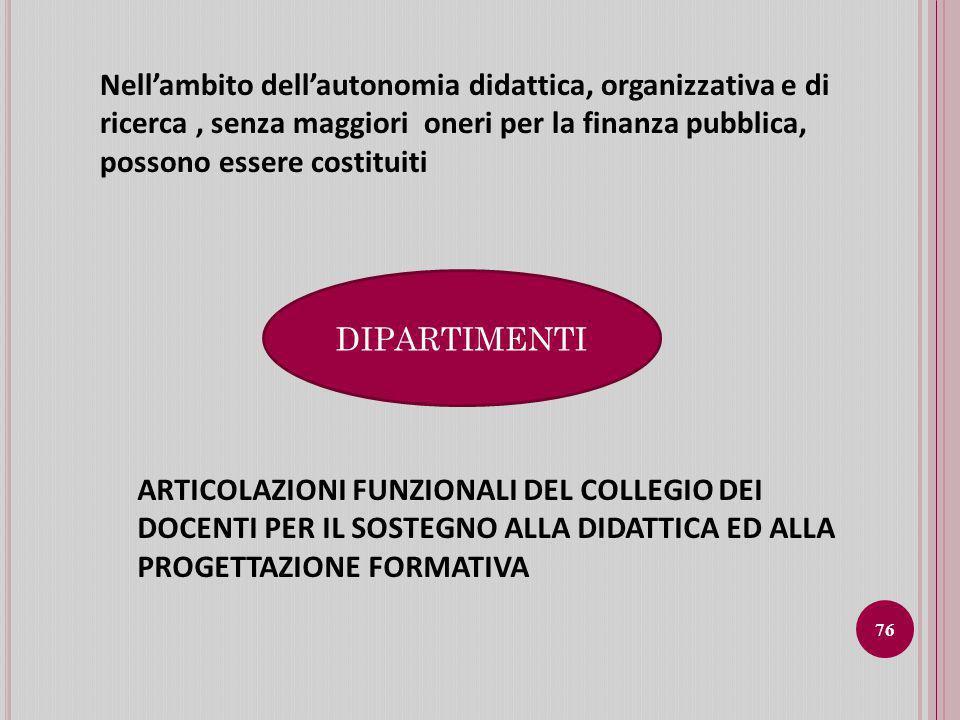 Nell'ambito dell'autonomia didattica, organizzativa e di ricerca , senza maggiori oneri per la finanza pubblica, possono essere costituiti