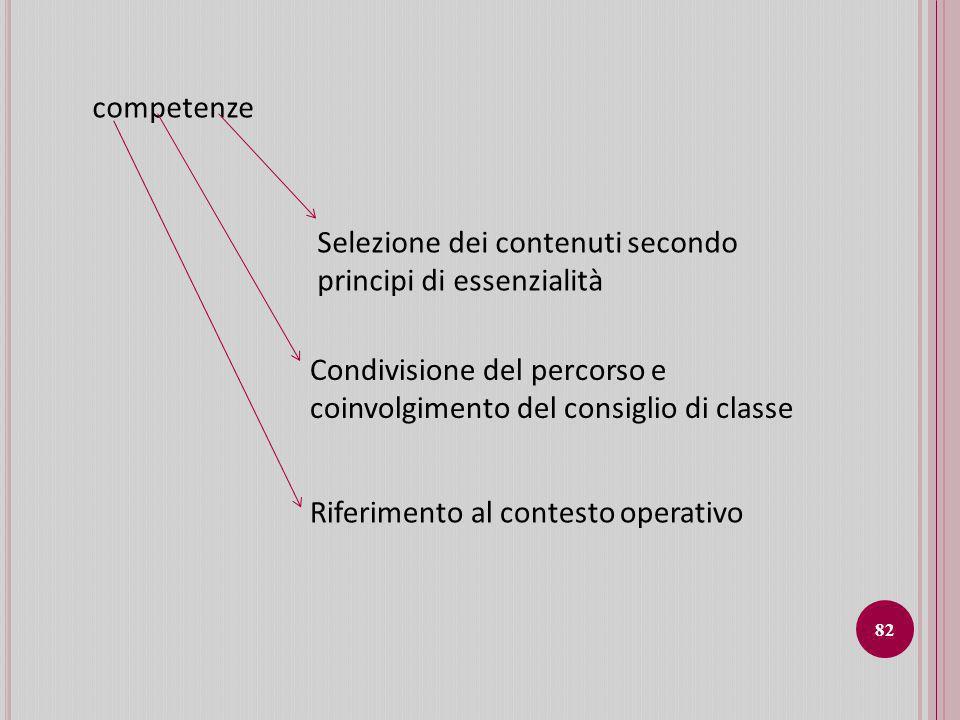 competenze Selezione dei contenuti secondo principi di essenzialità. Condivisione del percorso e coinvolgimento del consiglio di classe.
