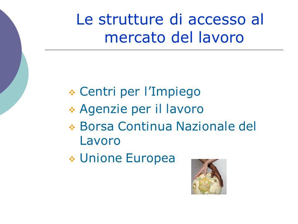 Le strutture di accesso al mercato del lavoro