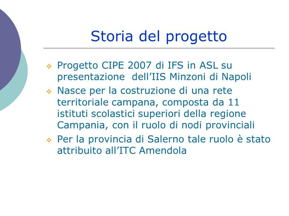 Storia del progetto Progetto CIPE 2007 di IFS in ASL su presentazione dell'IIS Minzoni di Napoli.