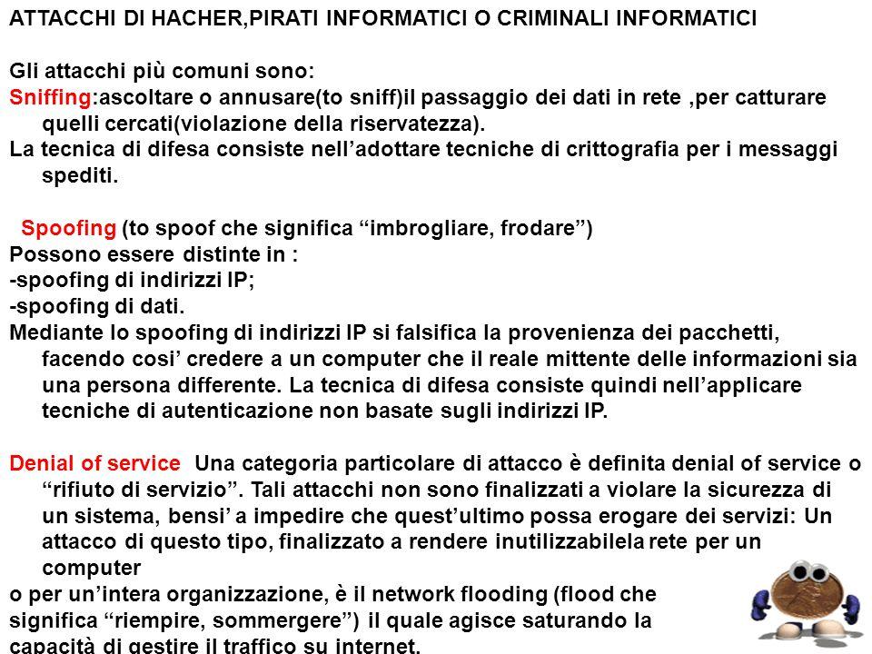 ATTACCHI DI HACHER,PIRATI INFORMATICI O CRIMINALI INFORMATICI