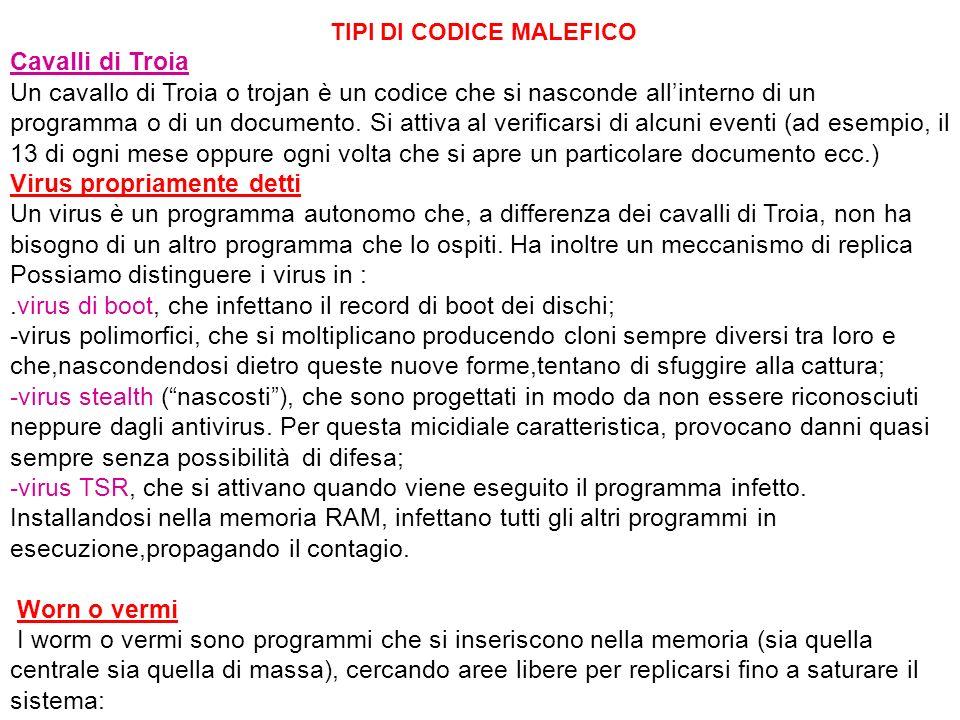 TIPI DI CODICE MALEFICO